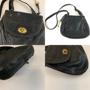 Fossil Bags - Fossil Bag Crossbody Solid Black Leather Gold Tone